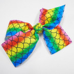 "5"" Rainbow Color Gator Clip Bows w/ Mermaid Pattern  .54 each"
