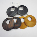 "2.5"" Rd. Wood Donut Shape Fashion Earrings 3 colors .50 each"