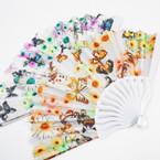"""9"""" New Style White Handle Fan w/ Butterfly/Flower Print .54 each"""