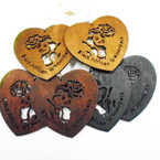 "2.5"" Wood Heart Shaped Wood Earrings African Women Rock  .52 ea"