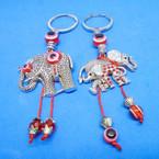 Cast Silver Elephant Keychain w/ Red Stones & Eye Beads .54 ea