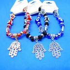 Gold & Silver Hamsa Charm Bracelets w/ Eye Beads .54 ea