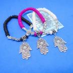 Colorful Beaded Hamsa Charm Bracelets w/ Story Cards .54 ea