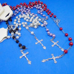"36"" 4 Color Pearl Bead Rosary w/ Silver Cross w/ JESUS .54 each"