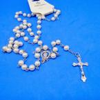 "36""  Pearl White  Bead Rosary w/ Silver Cross w/ JESUS .54 each"