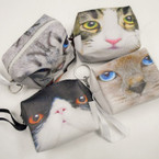 "3.5"" Puff Cat Theme Zipper Coin Purse w/ Keychain .56 each"
