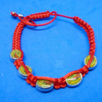 All Red Macrame Bracelet w/ 5 Guadalupe Charm .54 each