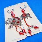 Cast Silver Elephant Keychain w/ Red Stones & Eye Beads .54 each