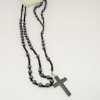 """36"""" Hematite Round Bead Rosary  .58 each"""