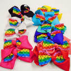 "5"" Rainbow Mermaid Layered Gator Clip Bows  .54 ea"