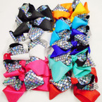 "5"" Shiney Mermaid Pattern Layered Gator Clip Bows  .54 ea"