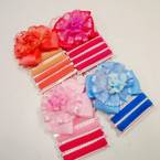 "SPECIAL 3.5"" Layered Lace Gator Clip Bow & Ponytail Holder Set .30 each"