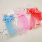 "SPECIAL 3"" X 6"" Gator Clip Pearl & Lace Bows 24 per pk .30 each"