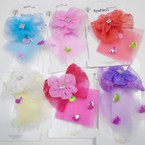"SPECIAL 3.5"" X 5"" Gator Clip Lace Bows w/ Stones & Hearts 24 per pk .30 each"