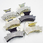 "1.5"" X 3.5"" Blk,Silver & Gold Jaw Clips w/ Crystal Stones .54 ea"