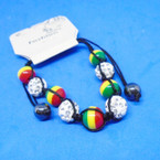 Rasta<Hematite & Fireball Beaded Cord Bracelets .54 ea