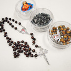 "Scented 36"" Wood Beaded Rosary w/ Silver Cross in Keepsake Bx .56 ea"