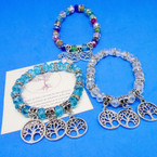 Crystal Bead Stretch Bracelets w/ Silver Tree of Life Charms .54 ea