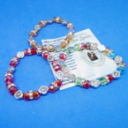 Crystal Bead Stretch Bracelets w/ Silver San Benito Charms .54 ea