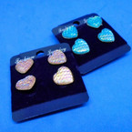 2 Pair Pink & Blue Mermaid Heart Earrings .50 ea