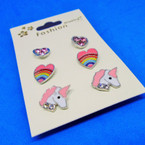 3 Pair Unicorn Theme Earring Sets .52 per set