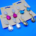 Sparkle & Clear Crystal Stone Fashion Earrings .54 ea