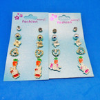 6 Pair Bunny Theme Value Pack Earrings .50 ea set