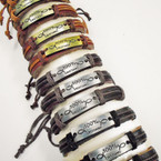 Brown & Black Leather Bracelets w/ 100 % Cristiano .54 each