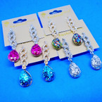 "2"" Sparkle & Clear Crystal Stone Fashion Earrings Gold/Silver .54 ea"