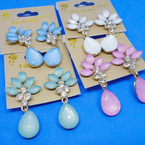 Spring Color Frosted & Crystal Stone Earrings .54 each