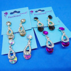 Elegant Crystal Stone  Earring w/ Colored Round Stones .54 each