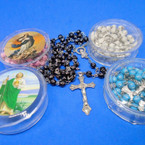 "36"" Cross Beaded Rosary w/ Silver Cross in Keepsake Bx 4 colors  .56 ea"