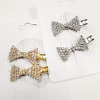 "2 Pk 1.5"" Gold & Silver Bow Style Rhinestone Hair Clips .54 per set"