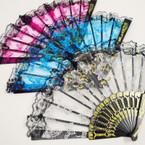 """9"""" Black Handle Fabric Lace Fan w/ Glitter Butterfly   12 pk  .54 ea"""