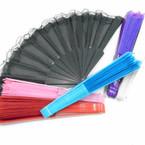"""9"""" 6 Color Handle Fabric Lace Fan Solids As Shown    12 pk  .50 ea"""