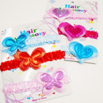 3 Pack Stretch Baby Headbands w/ Butterfly & Heart  .50 per set