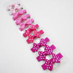 "10 Pack 2"" Pinktone Poka Dot Gator Clips .54 per set"