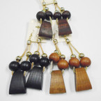 "5"" Wood Bead & Gold Fashion Dangle Earrings 3 colors .54 each"