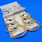 "3 Pair Metal Gold & Silver 1""-1.25"" Fashion Hoop Earring .52 per set"
