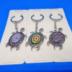 Cast Silver Turtle Keychains w/ Mixed Center Designs .54 each