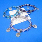 Mixed Color Beaded Stretch Bracelet w/ Silver Tree of Life Charms .54 each