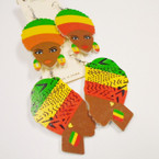 "2.5"" Rasta Color Fashion Lady Earrings 2 styles per pk  .52 each"