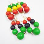 2 Color Group Chunky Wood Bead Rasta Color Earrings  .52 each