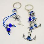 Cast Silver Fish & Dbl Anchor Beaded Fashion Keychains .52 each