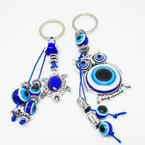 Cast Silver Turtle & Dbl Owl Eye Beaded Fashion Keychains .52 each