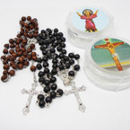 "Scented 36"" Wood Beaded Rosary w/ Silver Cross in Keepsake Bx .56 each"