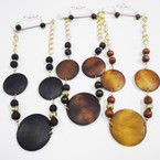Big Wood Disc Fashion Neck Set on Gold Chain .54 ea set