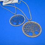"16"" Gold & Silver Chain Neck Set w/ Tree of Life Cry. Stone Pendant .54 ea set"