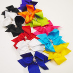 "BEST BUY 3 Pack 4"" Gator Clip Bows w/ Crystal Stone Center .52 per set"