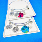 Silver Wire Bangle Bracelet w/ Tree of Life Theme Charms .54 ea